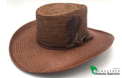 Sombrero Gambler Marrón Hebilla y Pluma - Almacenes Antonio Guerrero